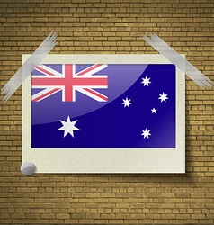 Flags australia at frame on a brick background vector