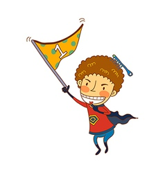 Close-up of boy holding flag vector