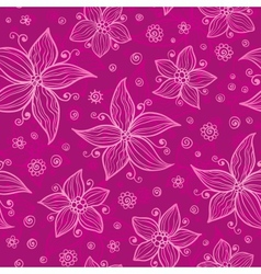 Pink doodle flowers seamless pattern vector