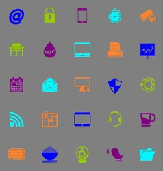 Internet cafe icons fluorescent color on gray vector