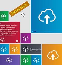 Upload from cloud icon sign metro style buttons vector