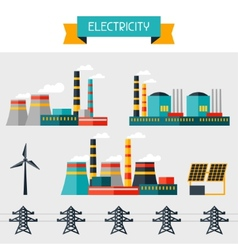 Electricity set of industry power plants in flat vector