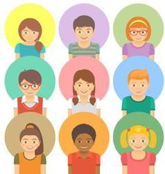Happy kids avatars vector