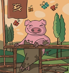 The sign og the china horoscop pig vector