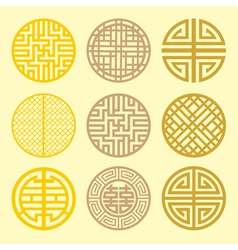 Round grid symbol sets geometric pattern design vector