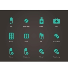 Pills and capsules icons vector