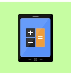 Tablet pc with calculator vector