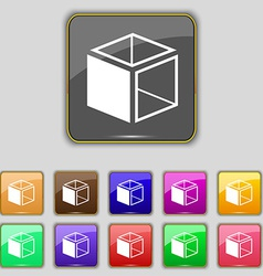 3d cube icon sign set with eleven colored buttons vector