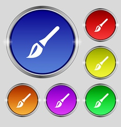 Paint brush artist icon sign round symbol on vector