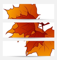 Set autumnal cards with maple leaves vector