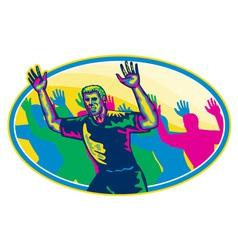 Happy marathon runner running oval retro vector