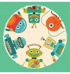 Retro robots card vector