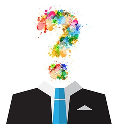 Man in suit with colorful splashes question mark vector