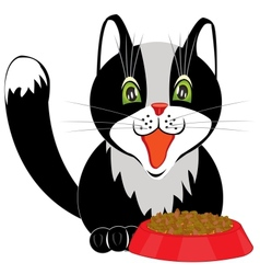 Cat and tureen with meal vector