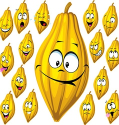 Cocoa pod with many facial expressions isolated on vector