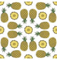 Seamless fruit pattern of pineapple vector