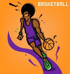 Afro basketball player vector