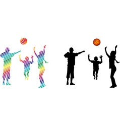 Children play volleyball vector