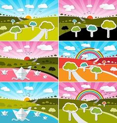 Landscape field set - flat design nature wit vector