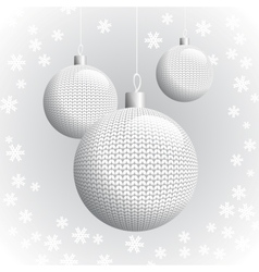 Three knitted christmas balls vector