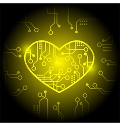 Yellow circuit heart background vector