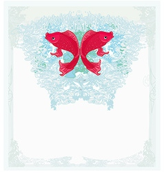 Japanese red koi background vector