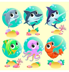 Funny marine animals with backgrounds vector