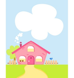 Cute cartoon house with copyspace vector