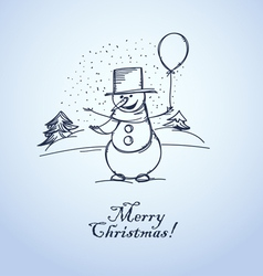 Merry christmas from smiling snowman with balloon vector
