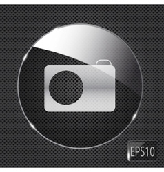 Glass photo button icon on metal background vector