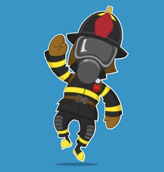 Firefighter rejoices vector