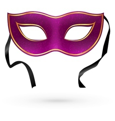 Violet carnival mask with ribbons vector
