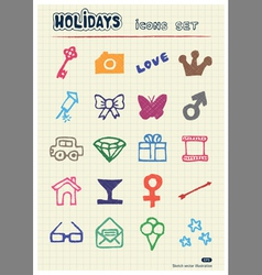 Holidays and celebration web icons set vector