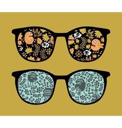 Retro sunglasses with plant monsters reflection vector