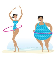 Slim anf big girls making exercises vector