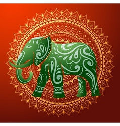Indian elephant with native ornament vector
