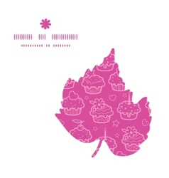 Colorful cupcake party leaf silhouette pattern vector