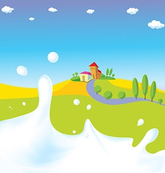 Splash of milk - with green field village a vector