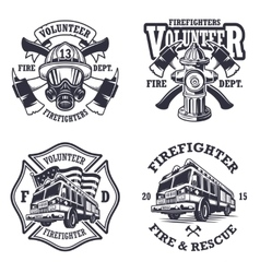 Set of firefighter emblems vector