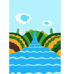 Natural background with the river vector