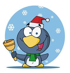 Christmas penguin bell ringer in the snow vector