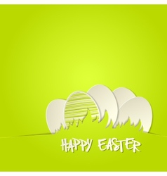 Easter bunny in grass greeting card vector
