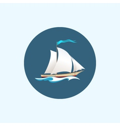 Icon with colored sailing vessel vector