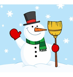 Snowman holding a broom and waving in the snow vector