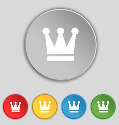 King crown icon sign symbol on five flat buttons vector
