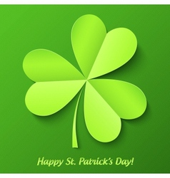 Green paper cutout clover patricks day card vector