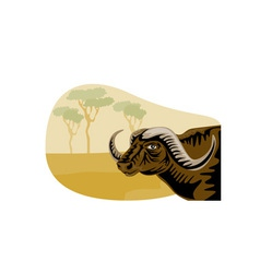 African buffalo retro vector