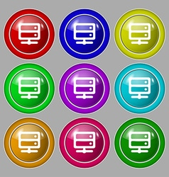 Server icon sign symbol on nine round colourful vector