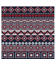 Knitted background in fair isle style in three vector