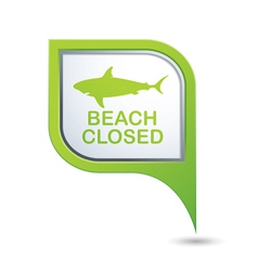 Beach closed shark sighting sign on map pointer vector